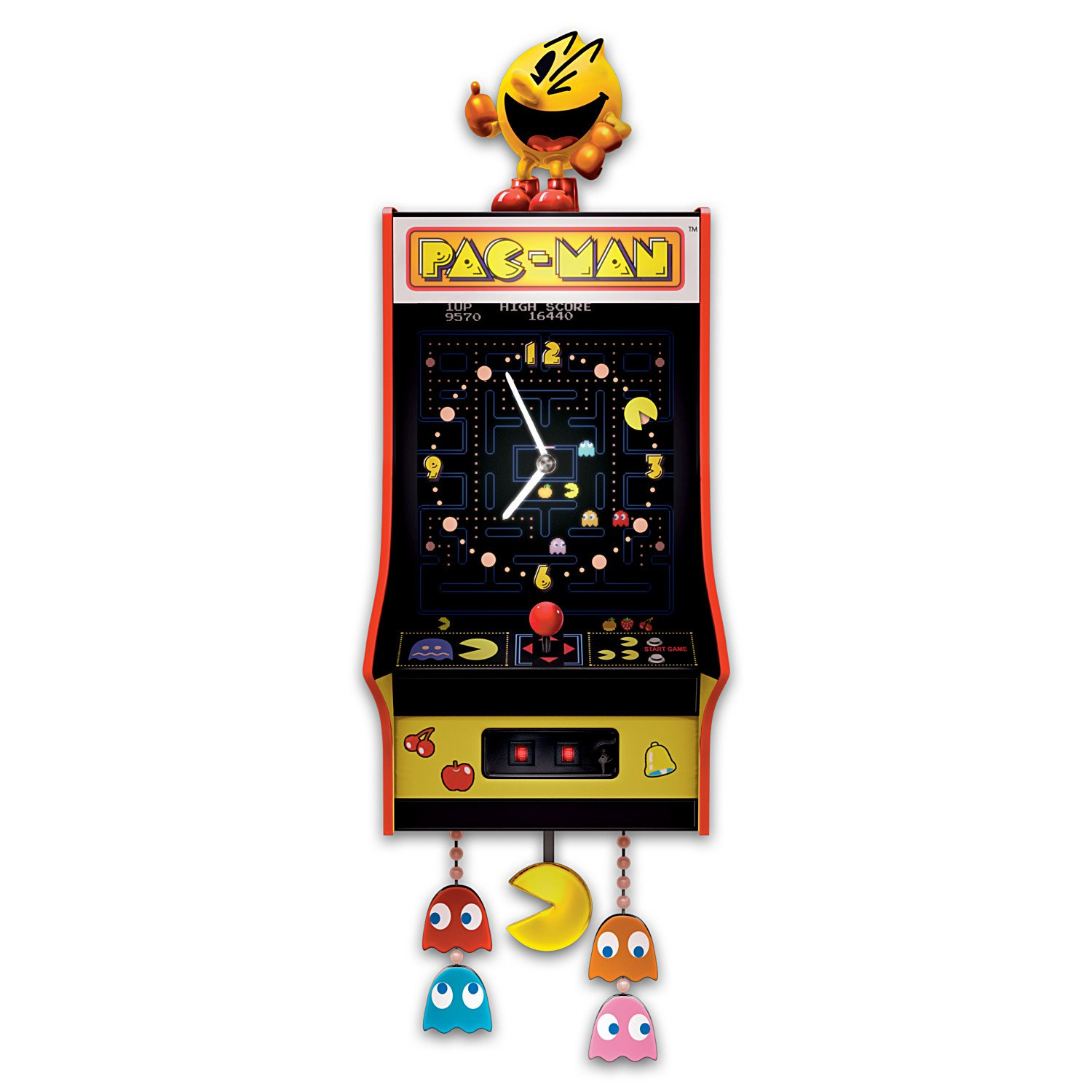 Pac-Man Clock with Classic Arcade Game Music: Lighted Wall-Hanging Clock by The Bradford Exchange