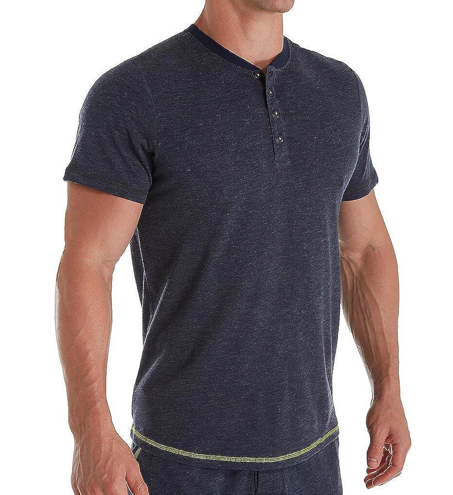 papi Mens Short Sleeve Slub Stripe Henley