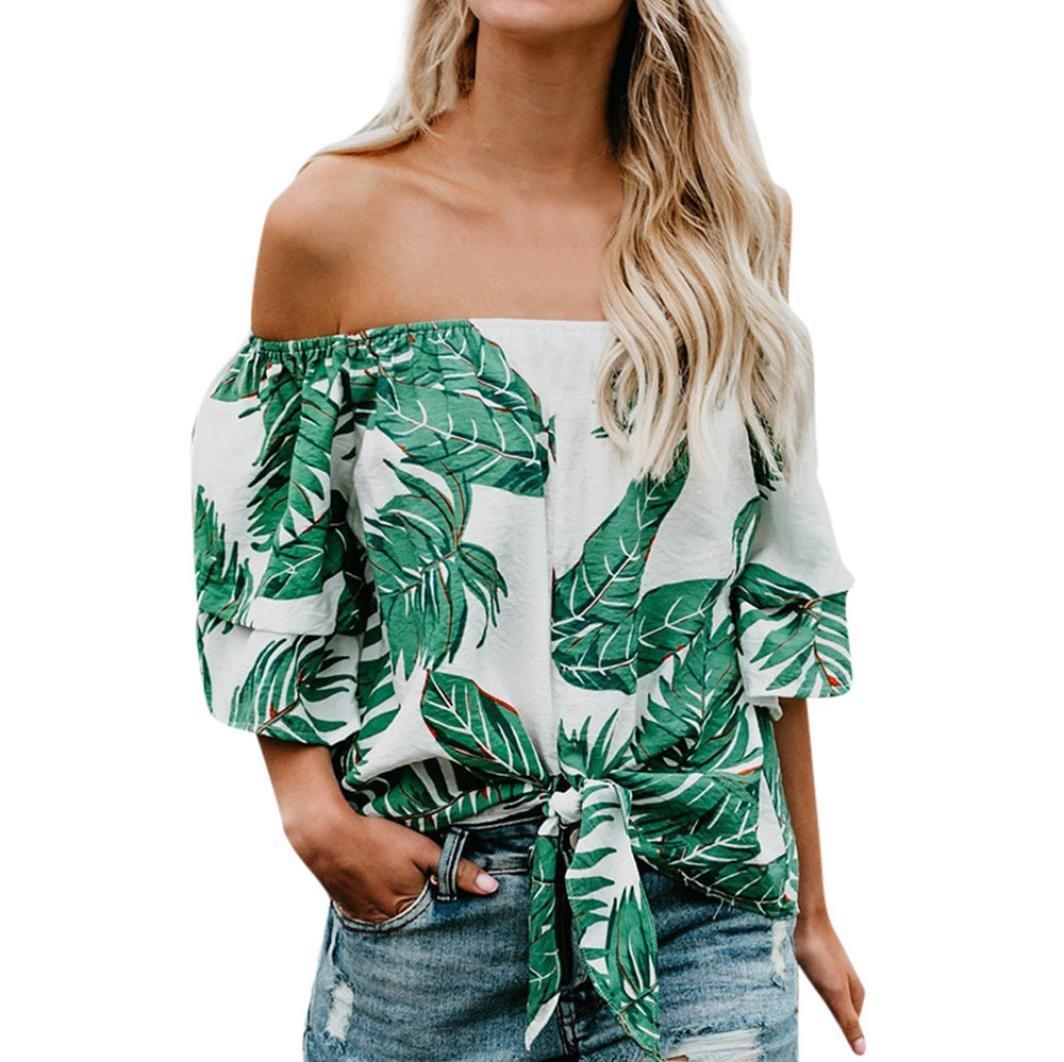 Longra Hot Sale In Spain Mujeres fuera del hombro con estampado floral 1/2 manga manga camiseta T-shirt blusa de mujer elegantes: Amazon.es: Alimentación y ...