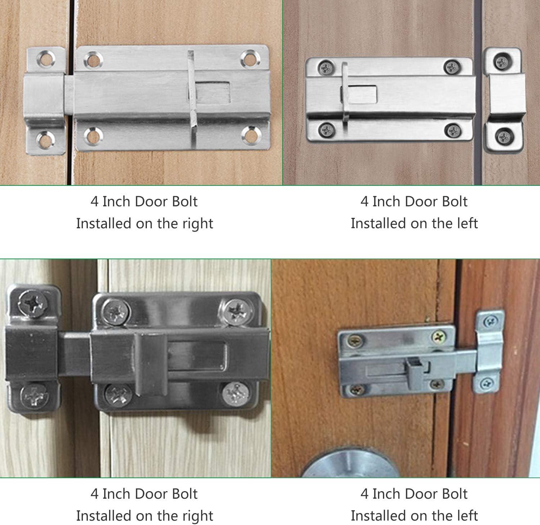 HSEAMALL 4 pernos de puerta, 3 pulgadas y 4 pulgadas de acero inoxidable cierre de puerta corrediza, cerradura de puerta de inodoro, perno deslizante montado en la superficie: Amazon.es: Bricolaje y herramientas