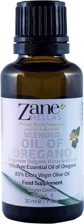 Zane Hellas 15% Aceite de Orégano. Aceite esencial de orégano griego puro.86% Min Carvacrol. 20mg de Carvacrol por porción. Probablemente el mejor aceite de orégano del mundo. 1fl.oz - 30 ml
