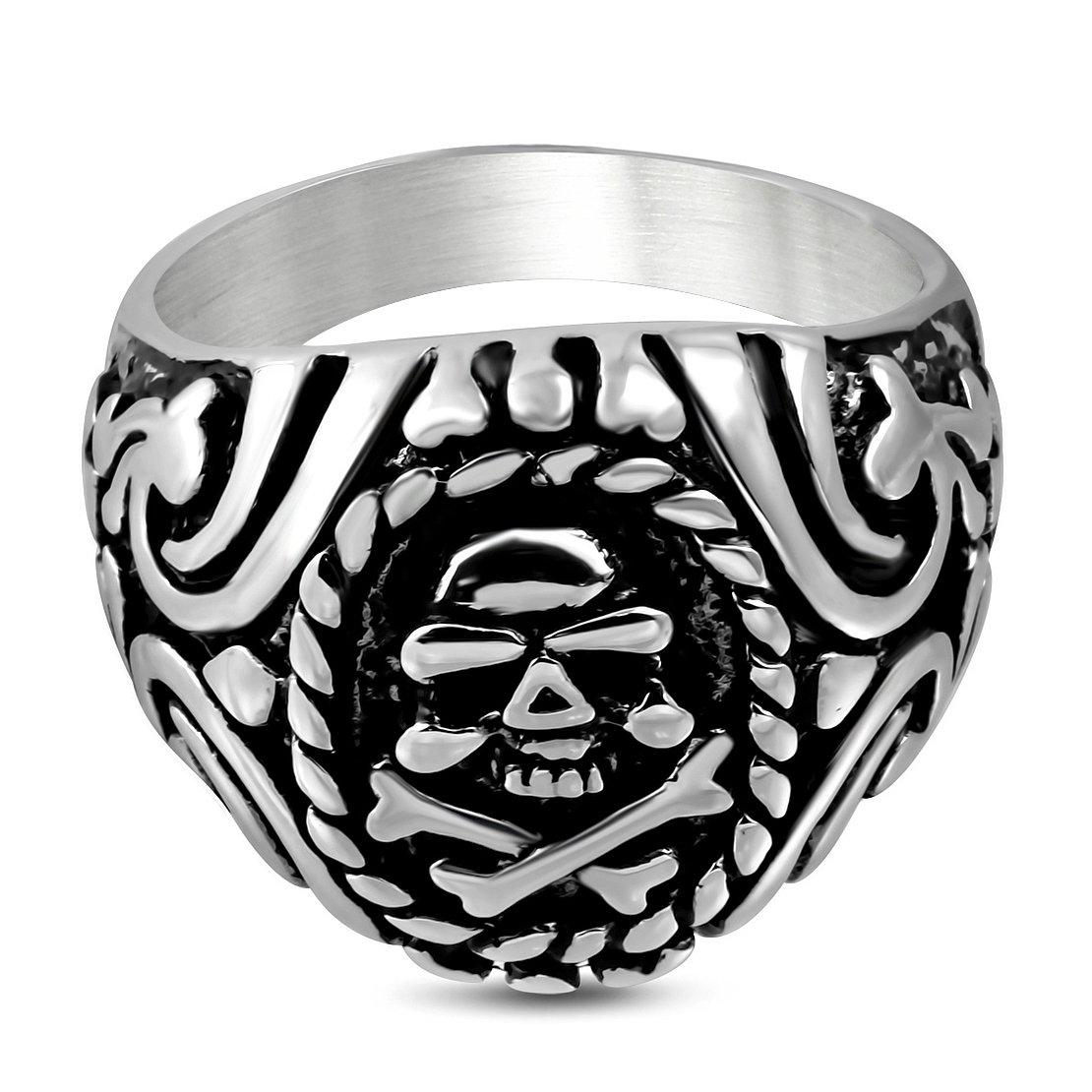 Stainless Steel 2 Color Spiral Vine Pirate Skull Crossbones Biker Ring