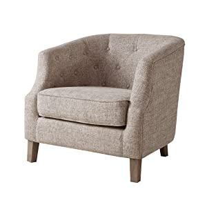 Madison Park Ansley Accent Chairs-Solid Wood, Button Tufted Armchair Modern Contemporary Style Living Room Sofa Furniture Barrel Receding Arm Design, Bedroom Lounge, Natural