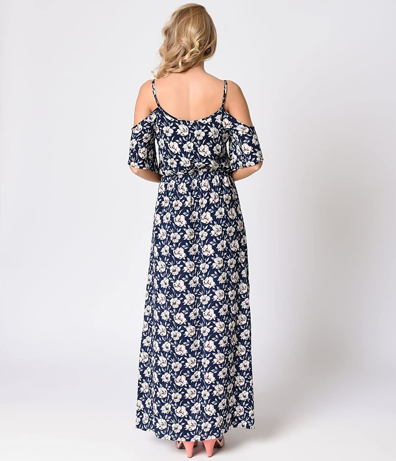 1970s Retro Style Navy Floral Cold Shoulder Maxi Dress