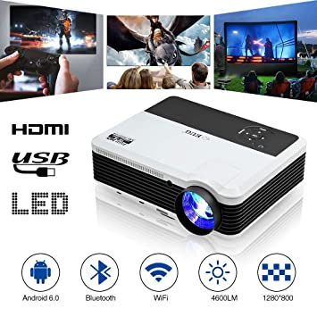 Inalámbrico Proyector WiFi con Bluetooth, 4600 Lúmenes Full HD ...
