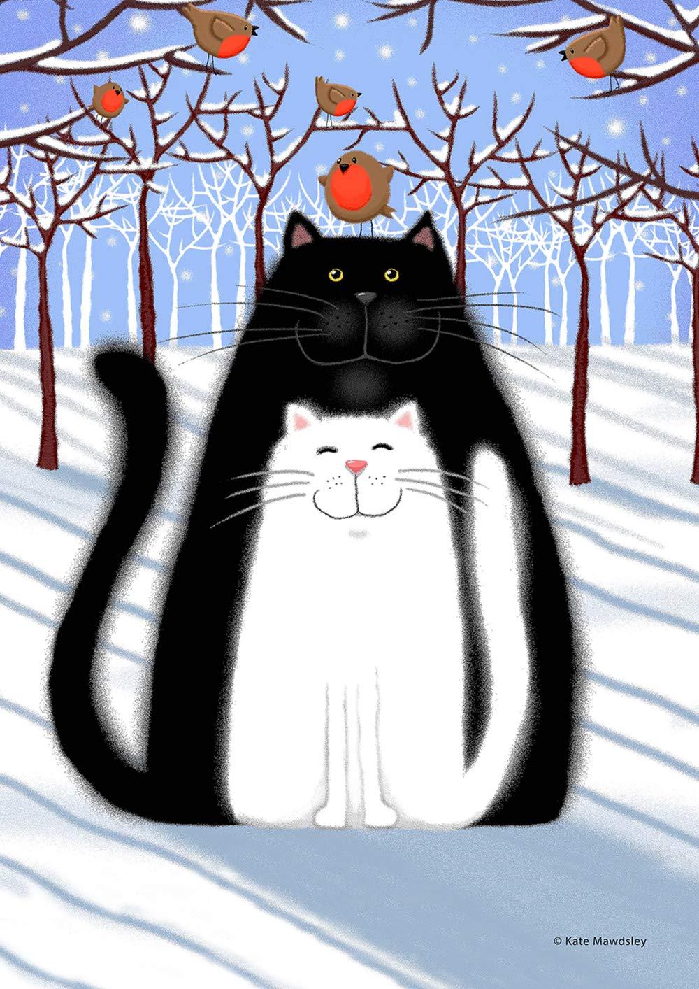 """Toland Home Garden 1112257 Snow Cats and Birds 12.5 x 18 Inch Decorative, Garden Flag (12.5"""" x 18""""),"""