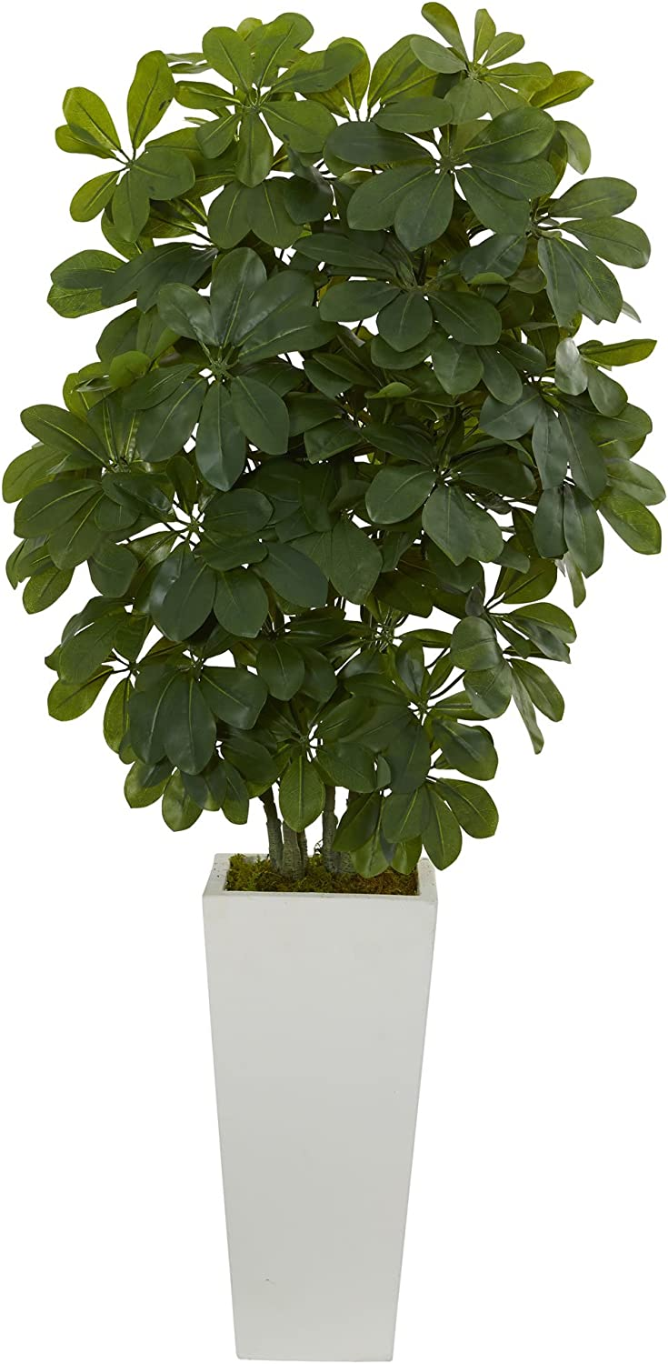 "Nearly Natural Artificial 40"" Schefflera Plant in White Vase (Real Touch), Green,12"