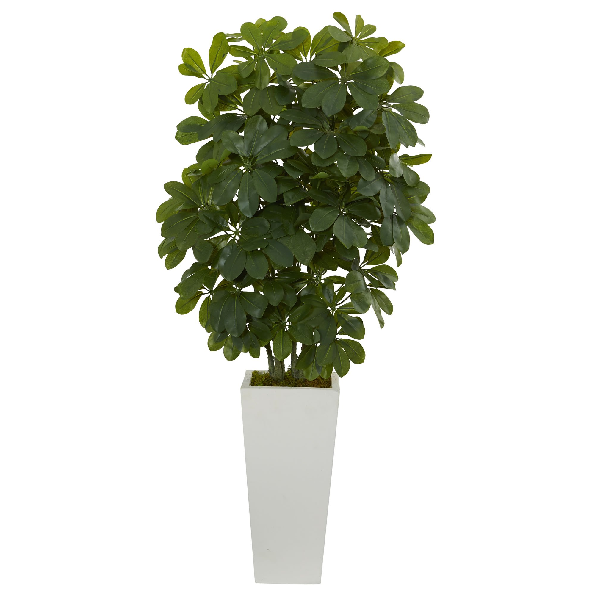 """Nearly Natural 40"""" Schefflera Artificial Plant in White Vase (Real Touch), Green"""