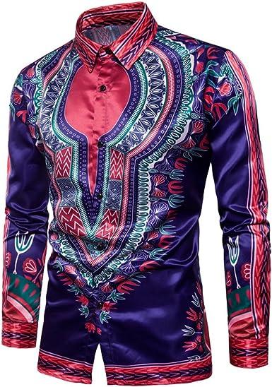 Zhien Camisa de Solapa con Estampado Africano Tradicional ...