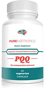 Pure Nootropics -PQQ (Pyrroloquinoline Quinone) 20mg Capsule | 60 Veg Caps Value Pack | Supports Mitochondrial Function & REDOX (Reduction-Oxidation) | May Help with Sleep & Cognitive Function Decline