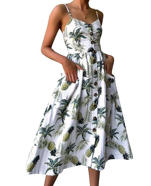 f64bd524a13c KUONOU Vestito Estivo da Donna Scollo V Elegante Chiffon Abito da Spiaggia  Casual Senza Maniche Mini Abiti Prendisole per Le Donne Stampe Floreali: ...