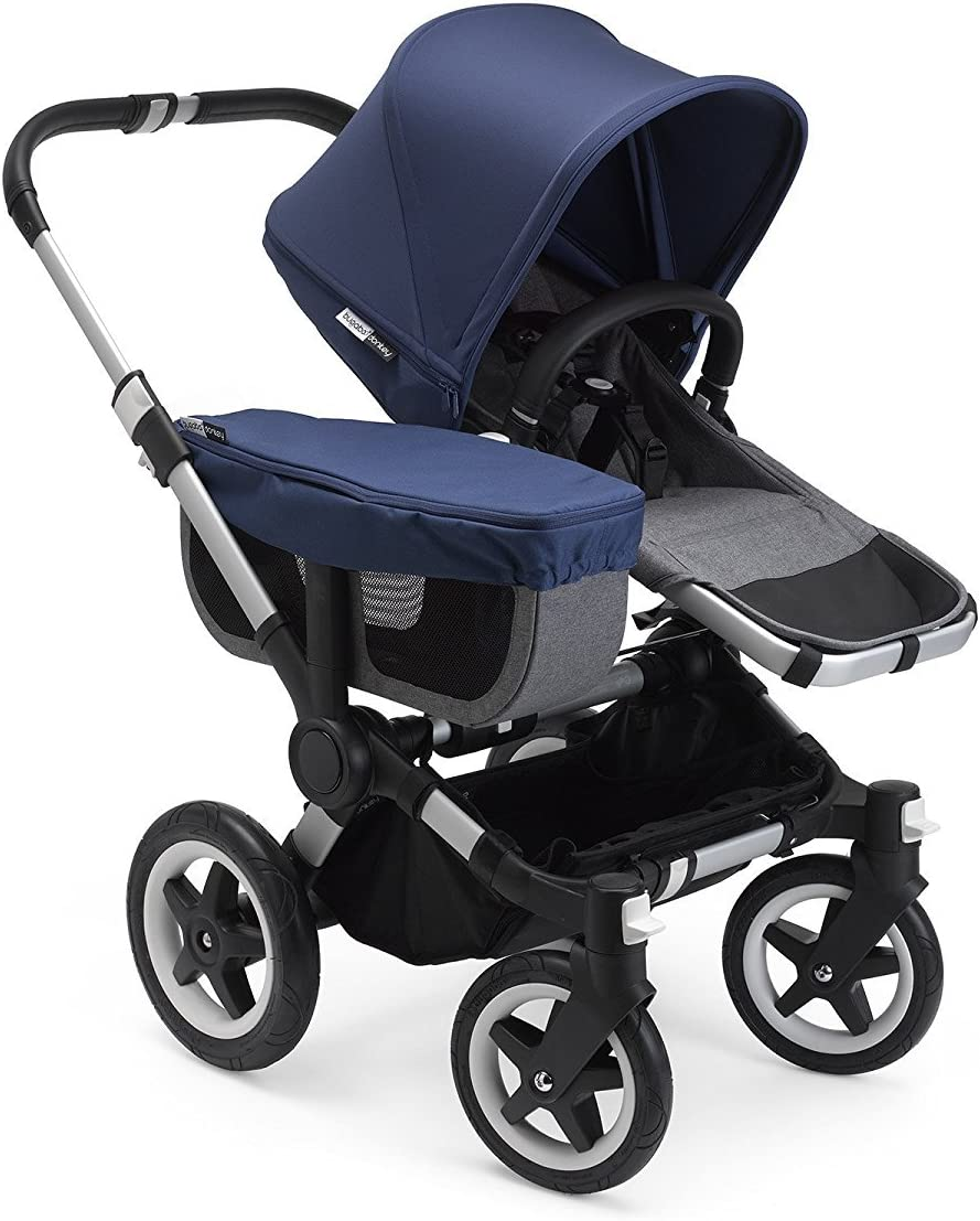Bugaboo Donkey2 Complete Mono Stroller Classic Alu//Grey Melange the Most Spacious Foldable Stroller with the Option to Expand to a Double