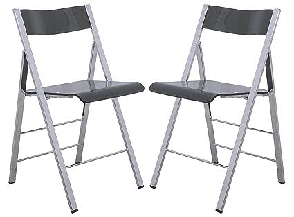 LeisureMod Menno Modern Transparent Acrylic Folding Chair (Set Of 2), Black