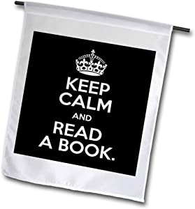 3dRose fl_157447_1 Keep Calm and Read a Book Garden Flag, 12 by 18-Inch