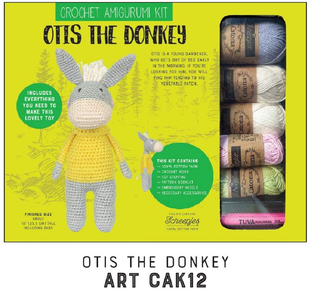 Crochet amigurumi kit Toy kit Cotton Yarn Set Knitting kit -Includes Construction Guide - for Both Beginners and Experienced Crocheters - Model 12 Otis The Donkey