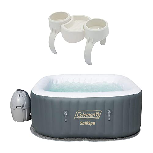 Coleman SaluSpa 4 Person Portable Inflatable AirJet Spa Hot Tub Drink Holder