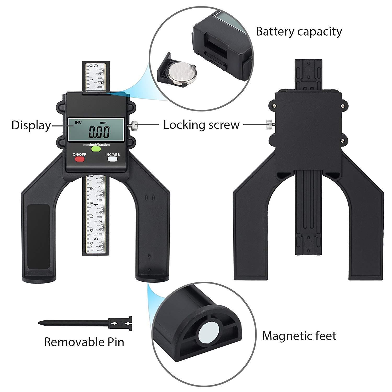 Tiefenmesser, Gocheer Digitale Tiefenmesser mit 2 Magnetischen Füßen Selbst Stehende Tiefenlehre,Perfekt für Holzbearbeitung und Maschinenbau