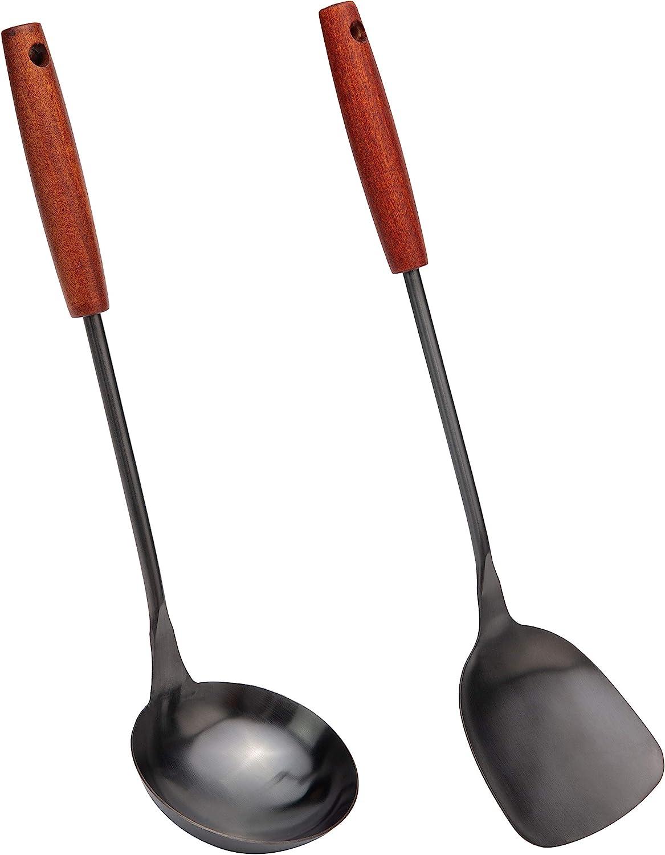 14.2-15 inches wok utensils Stainless Steel wok spatula. Spatula /& Ladle Wok Tool Set
