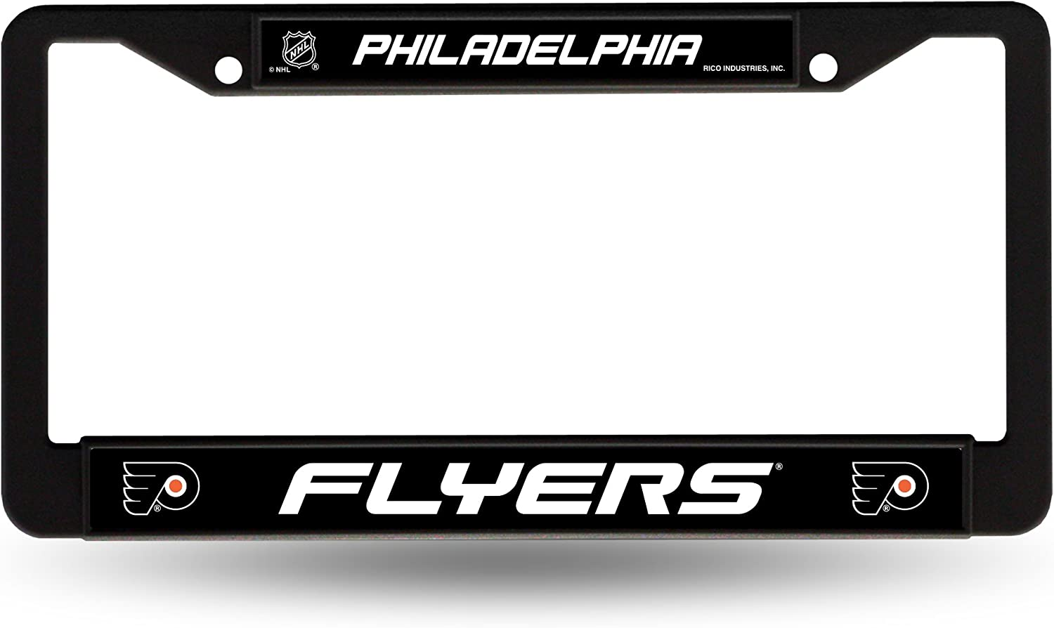 6 x 12.25 NHL Pittsburgh Penguins Laser Cut Inlaid Standard Chrome License Plate Frame Black