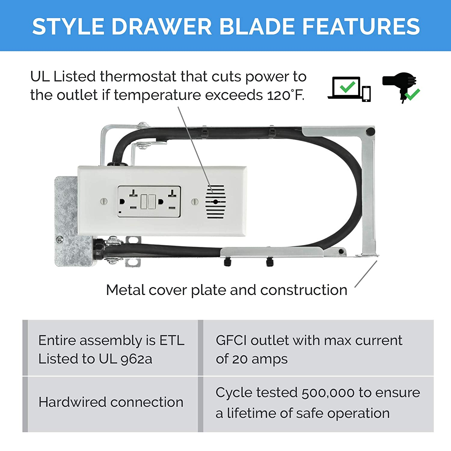Fits Standard Cabinets In-Drawer Powering Outlet White 2 AC GFCI Outlets Style Drawer 21 Blade
