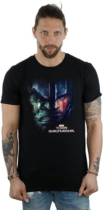 Marvel Hombre Thor Ragnarok Hulk Split Face Camiseta