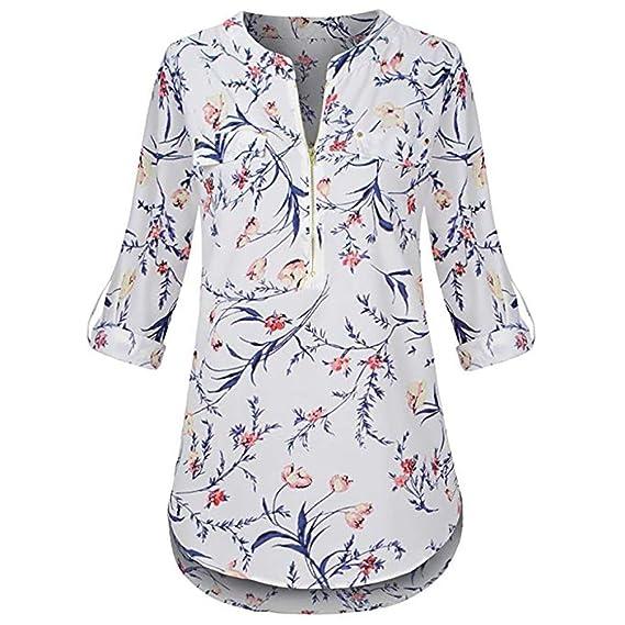 ❤ Tefamore Camisa de Mujer Gasa Blusa de Manga Larga Cuello En V Camisetas Estampadas T-Shirt Cremallera Pullover Casual Largas Vintage Tops: Amazon.es: ...