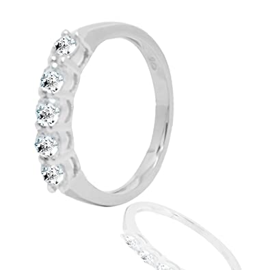 0e6d1ade9a Buy Zircon White Stone Pure Silver Ring for Girls and Women Boys Men  Birthday, Christmas Party Wear Ring Online at Low Prices in India | Amazon  Jewellery ...