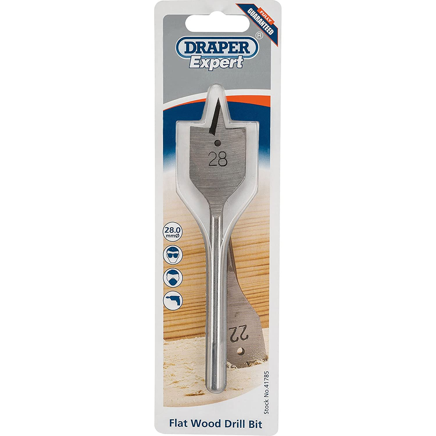 Draper 41787 Expert 32.0mm Flat Wood Bit, Blue, 32 mm