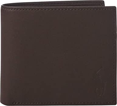POLO RALPH LAUREN BURNISHED BLACK /& BROWN LEATHER COIN CASE //PURSE