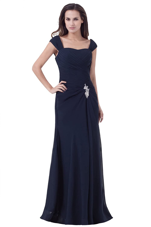 Dresstells Glamourös Damen Kleid Bodenlang Chiffon Abendkleid Ballkleider mit Trägern