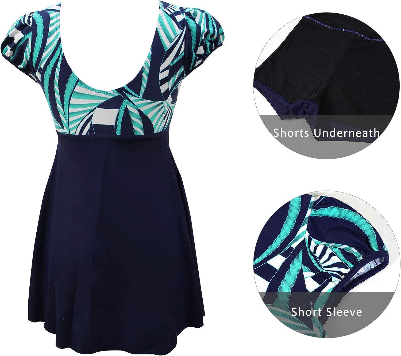 Ecupper Damen Einteiler Badeanzug mit Shorts Badekleid High Waist Blumen Muster Gr/ö/ße Gr/ö/ßen