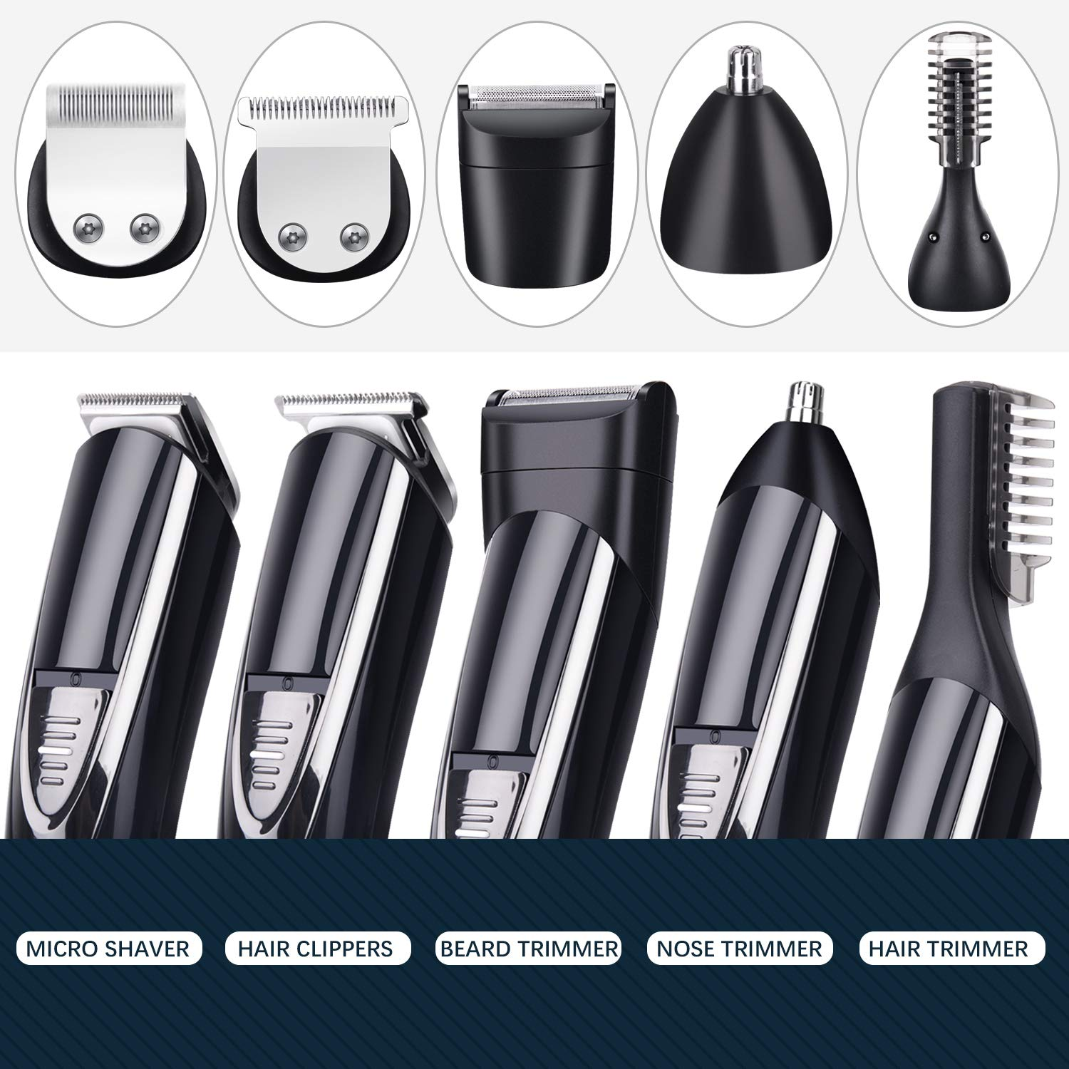 Beard Trimmer for Men, Cordless 10 In 1 Hair Clipper Mustache Trimmer Grooming Kit
