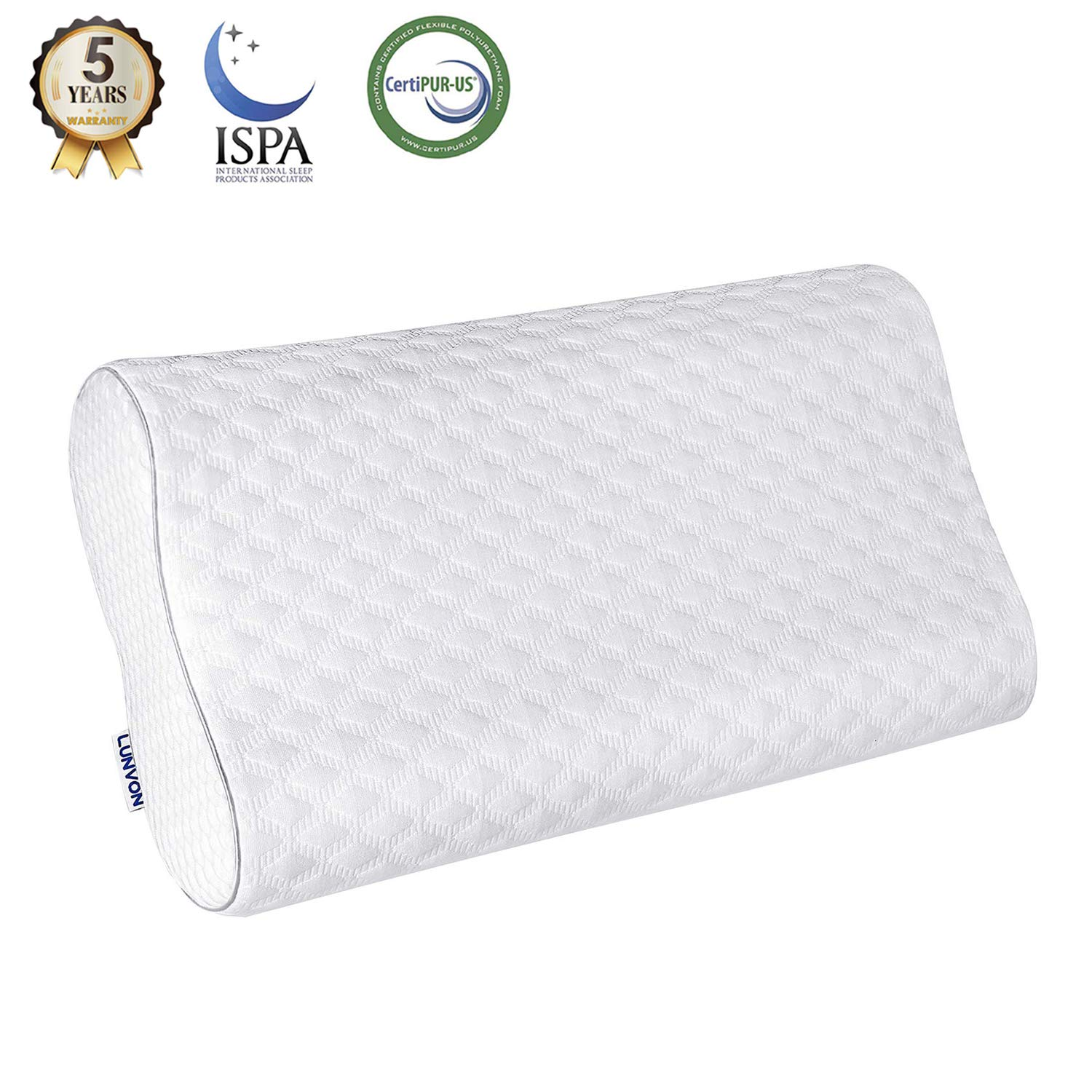 Lunvon Pillows for Sleeping Luxury Queen Memory Foam Cooling Bed Pillows Height Adjustable Cervical Pillow with Pain Relief Design Breathable Hypoallergenic Cotton Cover Protector CertiPUR-US, White