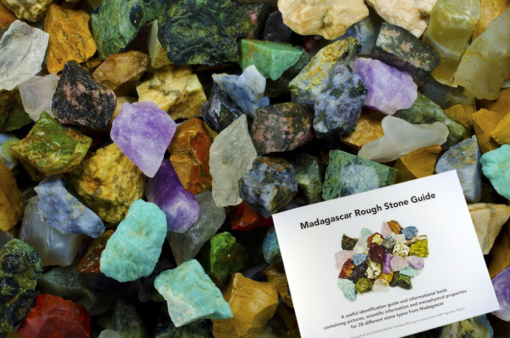 Hypnotic Gems: 3 lbs Hand Bagged 28 Stone Type Madagascar Mix with 30 Page Stone Identification Guide - Natural Raw Rocks for Cabbing, Cutting, Lapidary, Tumbling, Polishing & Reiki Crystal Healing