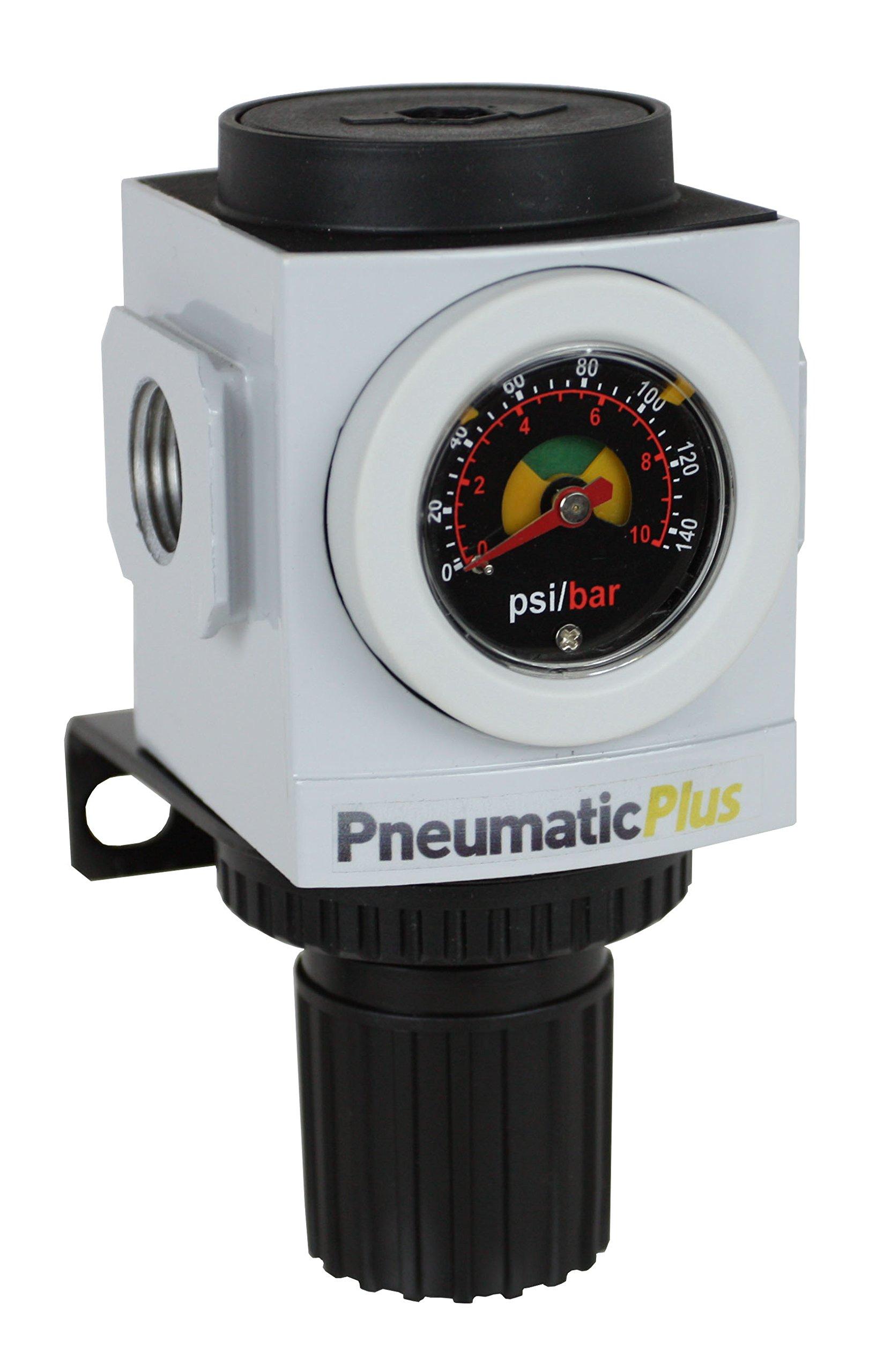 PneumaticPlus PPR3-N02BG Compressed Air Pressure Regulator, 1/4'' NPT (High Flow), Embedded Gauge and Bracket by PneumaticPlus