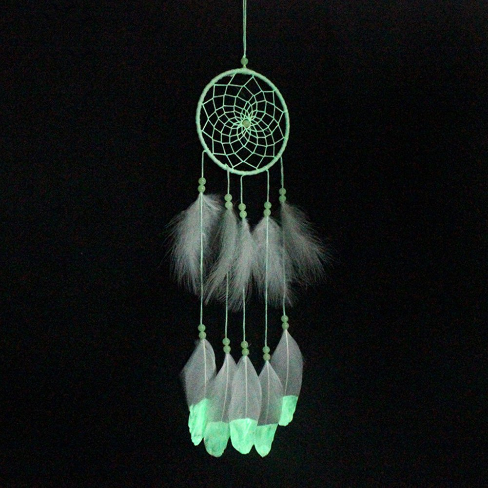 albero della vita dream catcher glow in the dark handmade dreamcatcher con perline piuma nappa parete appesa decorazione room decor partito wedding ornamento - bianco Yunhigh