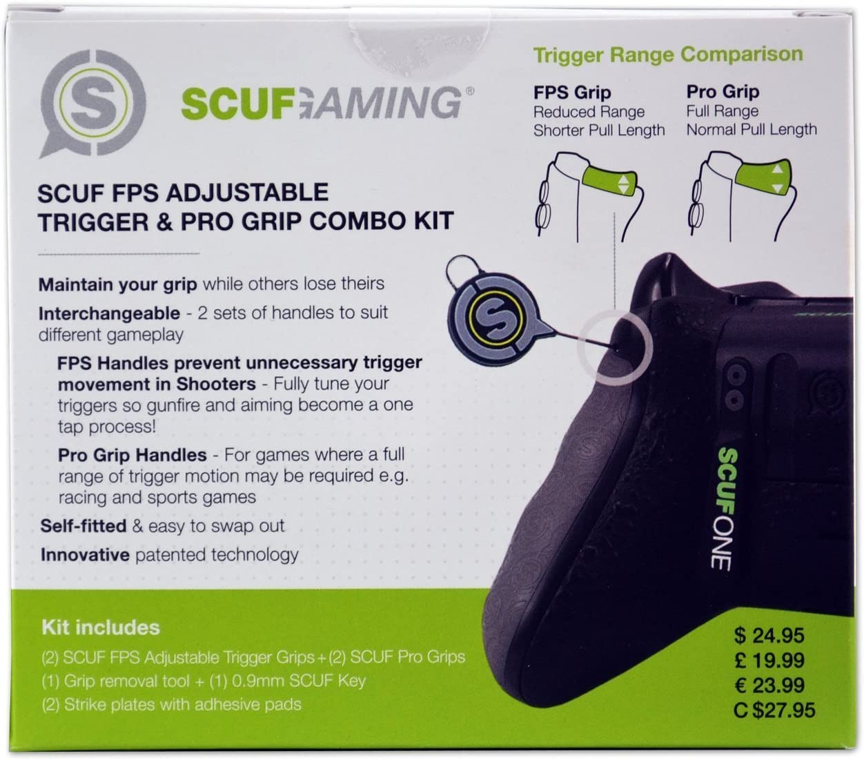 SCUF FPS Adjustable Trigger and Pro Grip Combo Kit - Gray - Xbox ...
