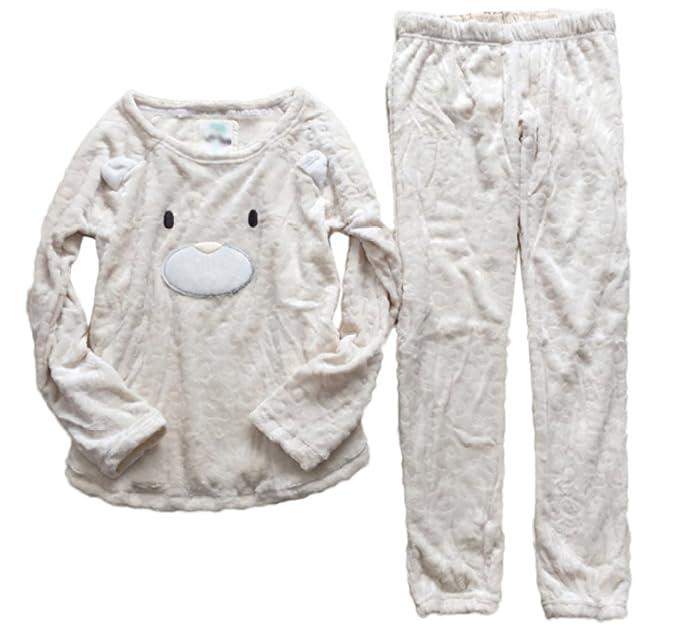 Pijamas De Franela De Señora Set Top Y Pantalones Cortos Conjunto De Traje Blanco Suave Y