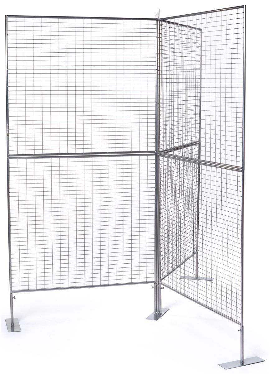Displays2go, Y Gridwall Panels, Double-Sided, Iron Construction, Floor Standing – Silver (AD3PNLY)