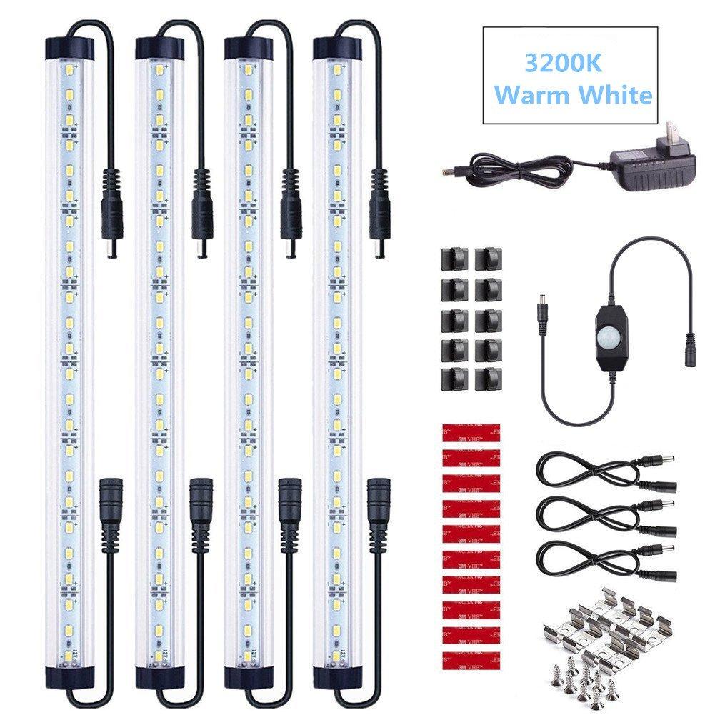 NEWCITY 4pcs Motion Sensor LED Under Cabinet Lighting Kit - Extendable Under Counter LED Light Bar for Gun Box, Locker, Closet, Shelf, Reception Desk, Kitchen, Show Case Lighting (Warm White 3200K))