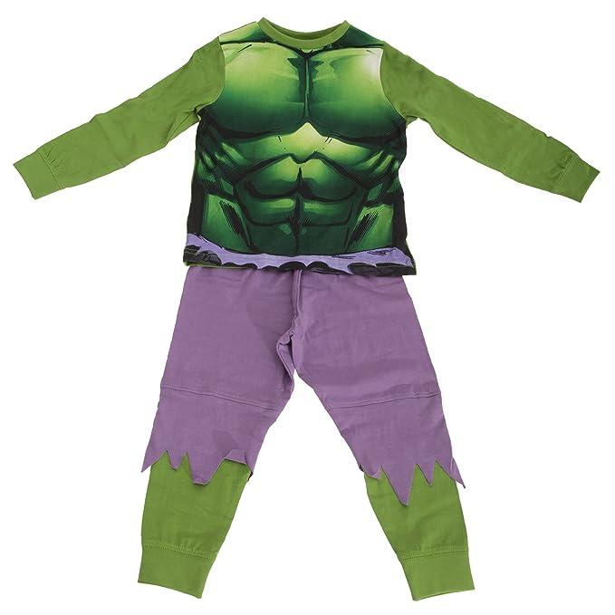 Marvel - Pijama de manga larga y pantalón largo con diseño de Hulk para niños (