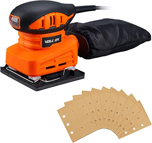 VOLLTEK Electric Sheet Sander and 10pcs Sanderpapers, 13000RPM Orbital Sander 1.5 Amp 1 4 Sheet for Polishing, Sanding Finishing Woods, Hook-and-Loop Base Pad, with Dust Collection VPFS1052