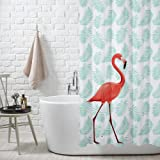 FuXing PEVA Shower Curtain Waterproof and Mildewproof Digital Printed Bath Curtains Bathroom Accessories 180 x 200 cm (Flamingo)