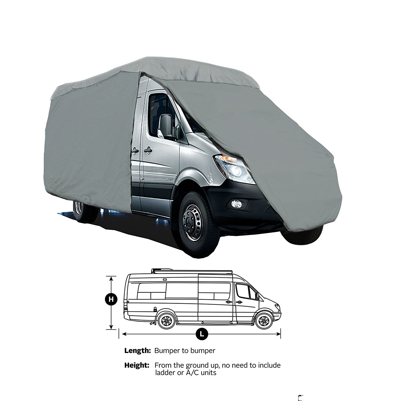 Class B 4-Layer RV Motorhome High Top Van Camper Cover Fits Up to 19' w/24' bubble Top Sprinter, Minibus, Winnebago Era, Roadtrek, Airstream Interstate, Great West, Leisure Travel, Pleasure-Way Brightpicks