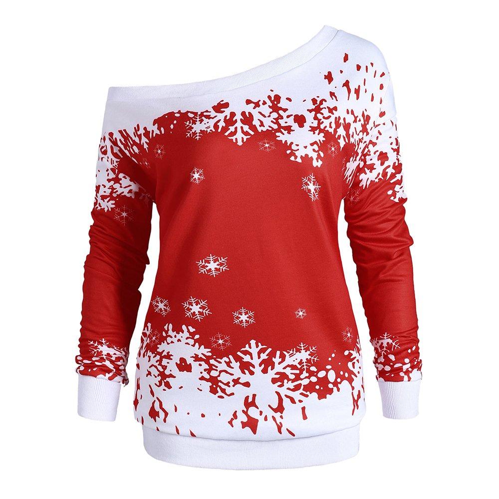 5e37d9c5e7096 DEZZAL Women s Plus Size Skew Neck Christmas Snowflake Pullover Sweatshirt  at Amazon Women s Clothing store