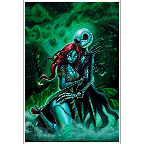 Christmas Art.Jack And Sally By Joey Rotten Nightmare Before Christmas Art Print Poster