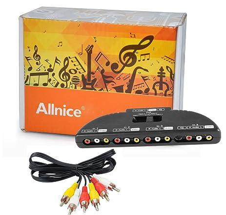allnice 4 way audio video av switch switcher 4 input 1 output selector splitter box