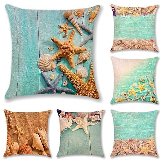 JOTOM Funda de Almohada de Lino de algodón,sofá Funda de cojín del Coche decoración de la Cama en casa 45 x 45 cm, Juego de 6 (Estrella de mar 1)