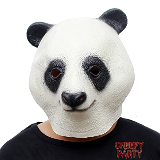 dfbb96b5665a Amazon.com: CreepyParty Novelty Halloween Costume Party Latex Animal Head  Mask Giant Panda: Clothing