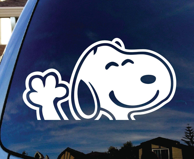 CMI251 Snoopy Waving Hi Car Window Vinyl Decal Sticker 5 Wide